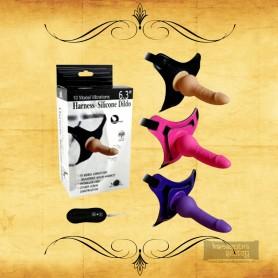 10 Vibrating Modes Strap on Harness Silicone Dildo SO-013