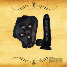 Strap On Dildo Harness with Big Black Dildo Vibrator SO-027
