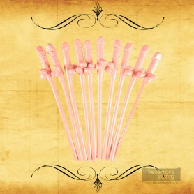 Pack of Ten Willy Straws Blow me KP-001